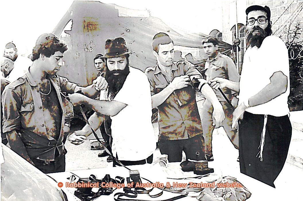 Putting Tefillin on IDF soldiers during the Lebanon war.